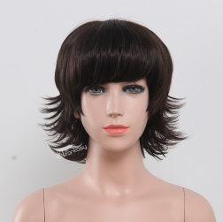 "12"" synthetic fiber wig black curly wig for kids"