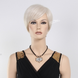 "12"" synthetic hair short straight white wig for mannequin head"