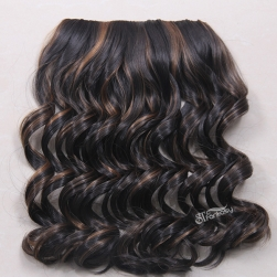 "20"" deep wave black synthetic hair extension with brown highlight"