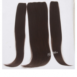 Natural straight brown fake hair clip in hair extension with 3 pieces