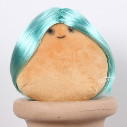 Short straight light blue toy's wig with high temperature fiber