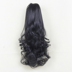 "22"" Long curly black synthetic claw in hair extension ponytail"