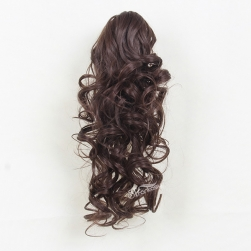 "17.5"" natural brown color super wave synthetic hair ponytail"