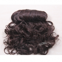 Brown synthetic fiber wavy hair weft one piece clip in hair extension