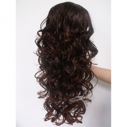 Dark brown long curly synthetic hair weaving with clips