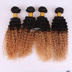 14 inch afro wave ombre hair extension brazillian hair weft