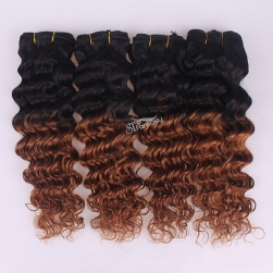 Deep wave human hair extension two tone color hair weaving