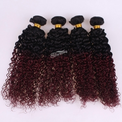 1B/ 99J ombre color human hair weft kinky curly hair extensin for black women