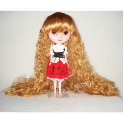 Long golden curly synthetic hair doll's wig