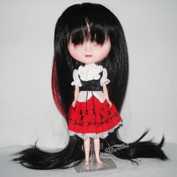 Long straight black cute doll wig with imported synthetic fiber