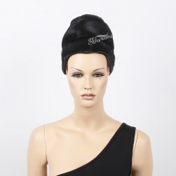 Black color updo hair style mannequin head bald wig wholesale