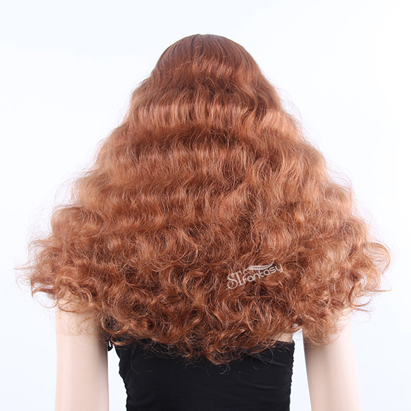 Long curly brown fluffy synthetic hair wigs for female mannequin