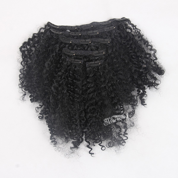 Kinky curly synthetic clip in hair extensions with 6 pieces per set