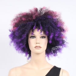Synthetic hair coloful purple afro short wig for women