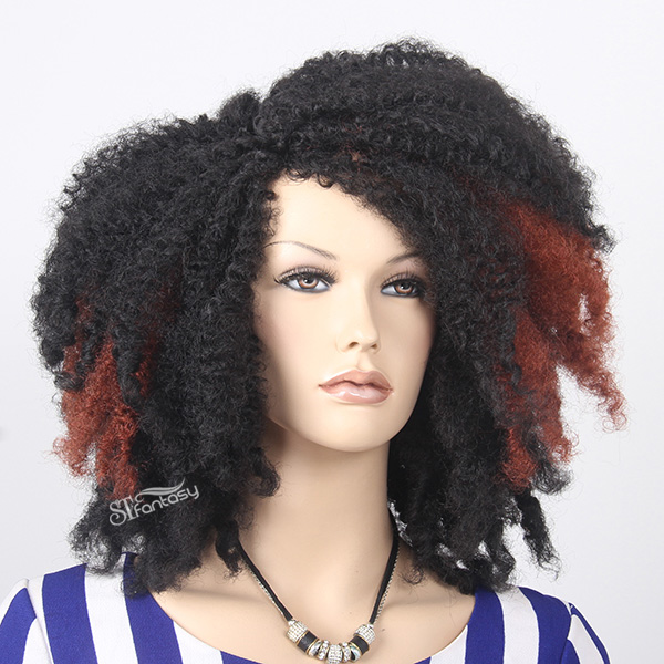2017 New arrival kinki twist hair styles synthetic hair afro wig with highlight color