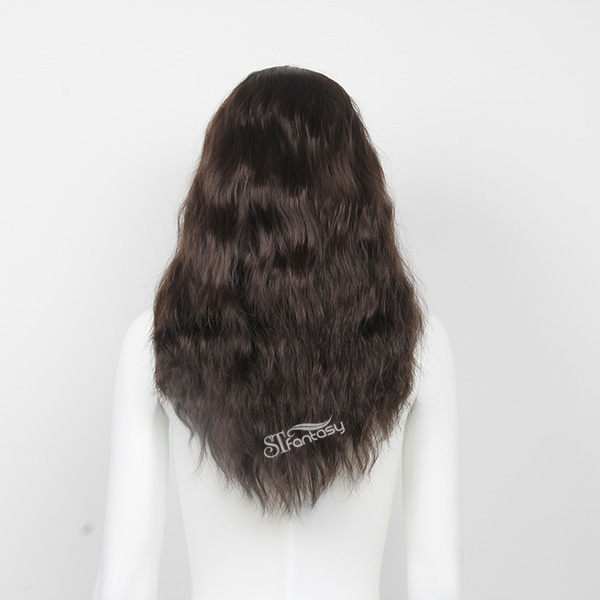 Fluffy natural black curly synthetic hair for mannequin head bald wig