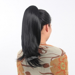 China ponytails supplier wholesale 55cm black synthetic hair ponytiail with natural wave