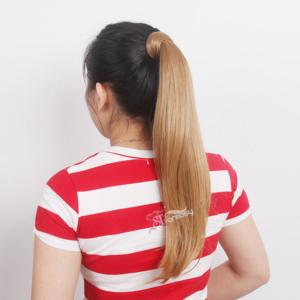 ST 2016 hot sale style straight 19 inch golden hair synthetic ponytail wholesale