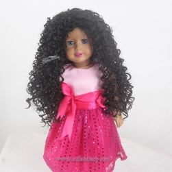 Wholesale Wig Supplier In China Cheap Long Black Kinky Curly Afro Style 2017 Newest Heat Resistant Synthetic Hair Doll Wig For 18 Inch American Girl