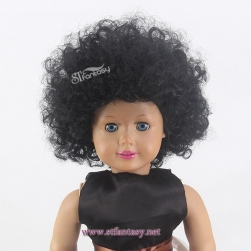 Guangzhou Wigs Manufacturer 12inch Black Afro Kinky Curly Synthetic Hair American Girl Doll Blythe Doll Wig With CE Certificated
