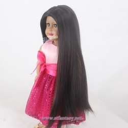 "China Wholesale Wig 15"" Long Black Silky Straight Wave Heat Resistant Synthetic Hair Doll Wig For 18 Inch American Girl Doll"