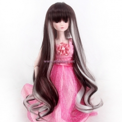 Cheap Doll Wig Wholesale 17inch Super Long Two Colors Mixing Brown And Grey Sd/Bjd 18inch American Girl Doll Quality Synthetic Wig With Bang