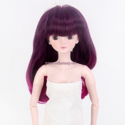 Purple Red Ombre Color Lady's Fashionable Long Silky Straight Wave Flame Resistant Synthetic Hair Doll Wig With Cute Bang