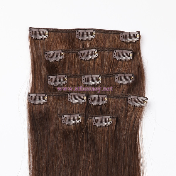 Light Brown 7sets Glamorous 100% Unprocessed Virgin Remy Brazilian Silky Straight Human Clip In Hair
