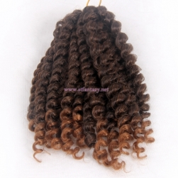 2017 Latest Synthetic Braiding 20 Pieces Wand Curl Ombre Brown Hair Extension For Black Women