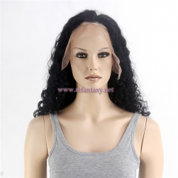 Large Stock 22inch Black Deep Wave Indian Human Hair Full Lace Wig For Black Women Supply Wholesale