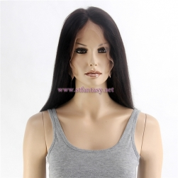Human Hair From China Natural Color 1b 20inch Silky Straight 100% Peruvian Remy Human Hair Full Lace Wig For Women