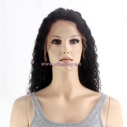 Wholesale Human Hair Full Lace Wig With Kinky Curly Natural Black 20inch Long Lace Wig For Black Women